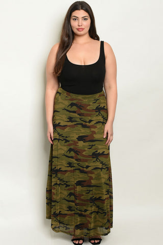 Brown Camouflage Plus Size Maxi Skirt