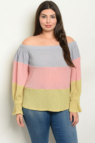 Plus Size Colorblock Cold Shoulder Tunic Sweater