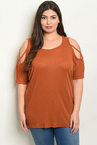 Rust Cold Shoulder Tunic Top