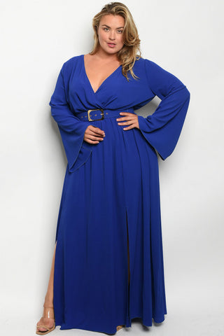 Royal Blue Plus Size Long Sleeve Belted Maxi Dress
