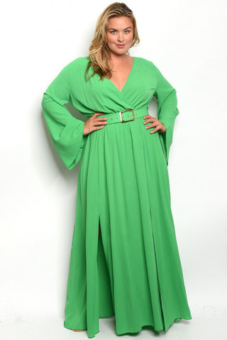 Green Plus Size Long Sleeve Belted Maxi Dress