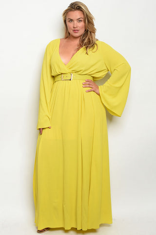 Lime Yellow Plus Size Long Sleeve Belted Maxi Dress