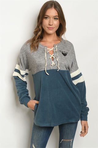 Gray and Teal Lace Up Sweatshirt