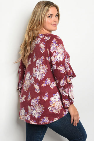 Wine Red Floral Plus Size Tunic Top
