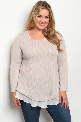 Tan Plus Size Tunic Sweater
