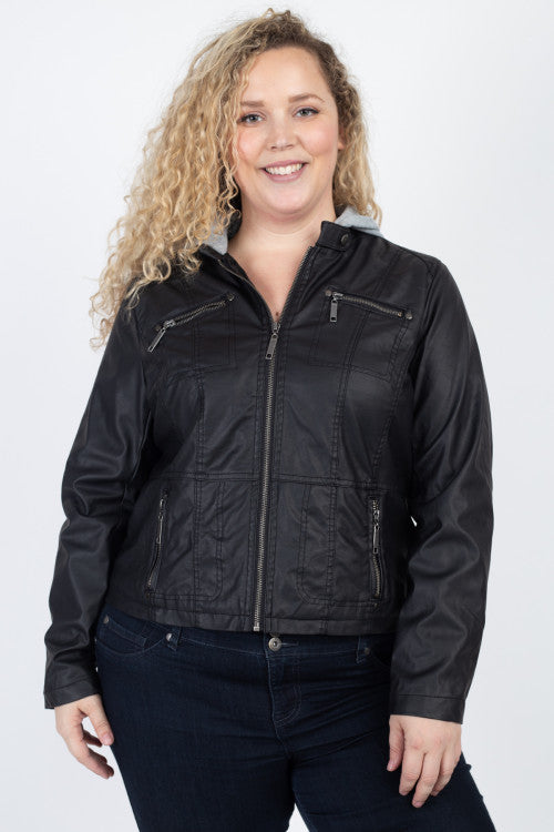 Black Faux Leather Hooded Bomber Jacket