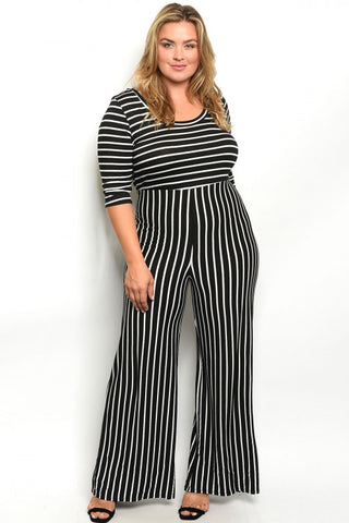 Black and White Stripe Plus Size Jumpsuit
