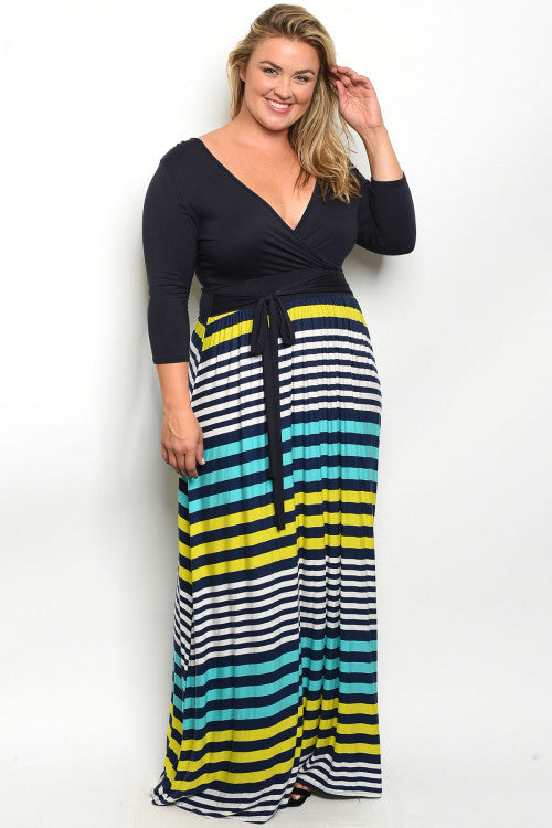 navy blue stripe plus size maxi dress
