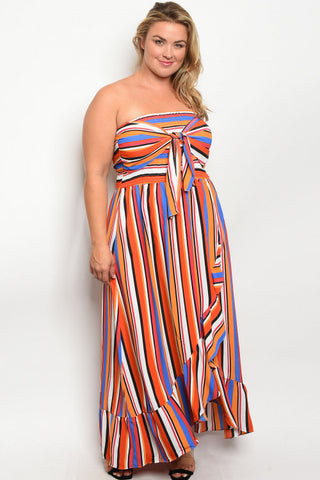 Orange Stripe Plus Size Strapless Maxi Dress