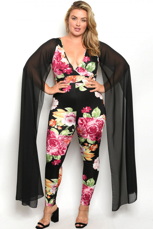 Black Floral Plus Size Bodycon Jumpsuit