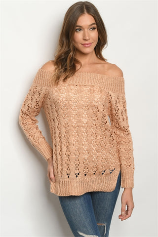 Blush Pink Cold Shoulder Knit Sweater