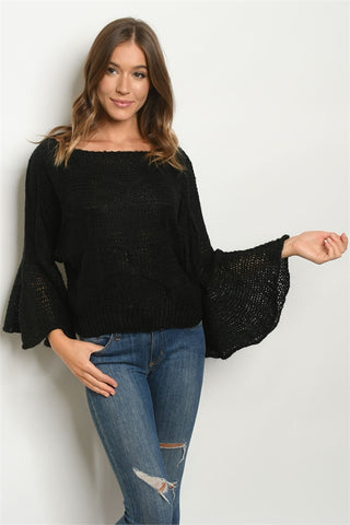 Black Bell  Sleeve Knit Sweater