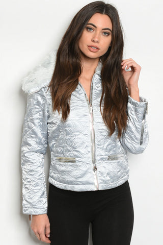 Silver Faux Fur Quilted Jacket