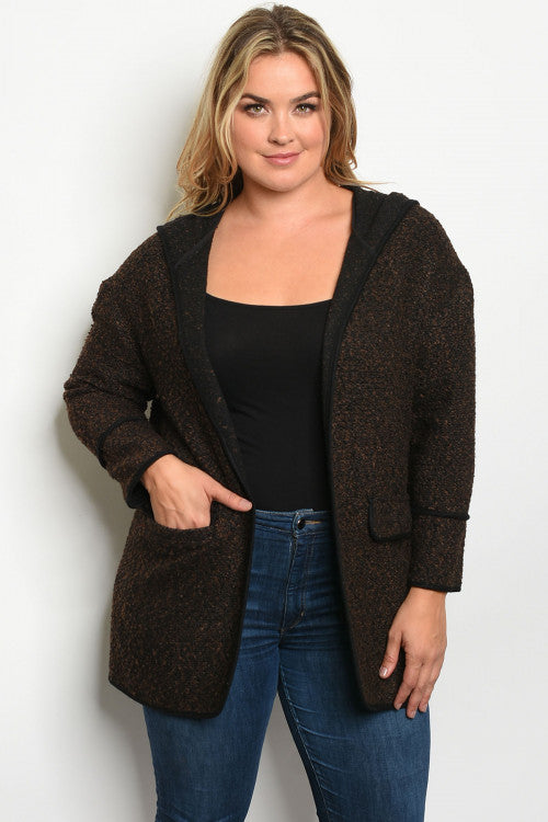 brown plus size hooded jacket