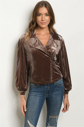 Mocha Brown Velvet Moto Jacket