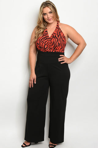 Black and Red Animal Print Halter Plus Size Jumpsuit