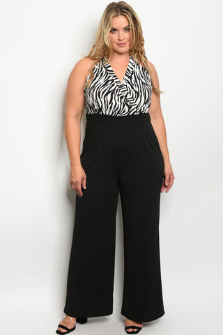 Black and White Animal Print Halter Plus Size Jumpsuit