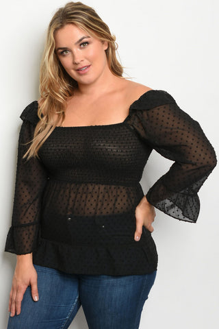 Black Polka Dot Smocked Plus Size Top