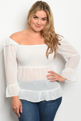 White Polka Dot Smocked Plus Size Top