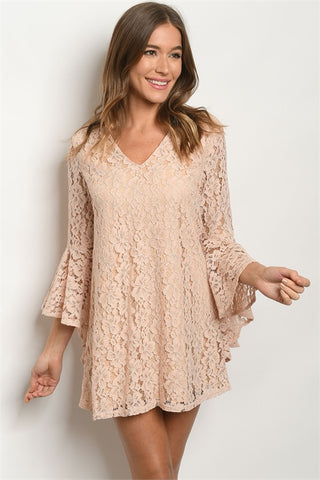 Blush Pink Lace Overlay Bell Sleeve Dress