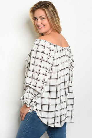 White and Black Checkered Cold Shoulder Tunic Blouse