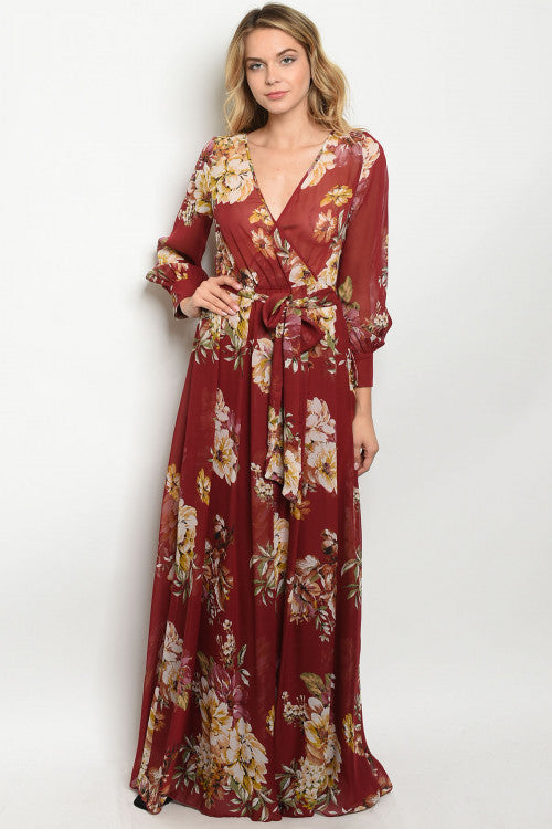 Burgundy and Yellow Floral Chiffon Maxi Dress
