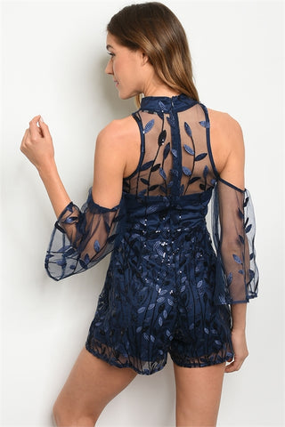 Navy Blue Lace Cold Shoulder Romper