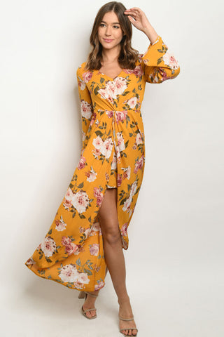Yellow Floral Romper Maxi Dress