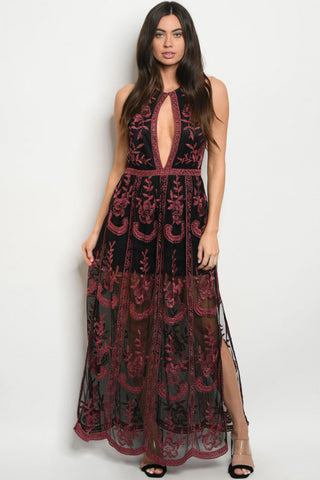 Black and Burgundy Embroidered Lace Maxi Dress