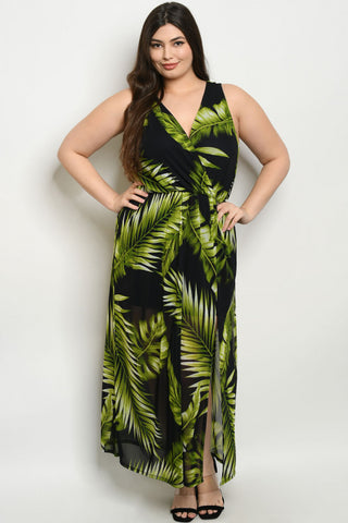 Black and Green Tropical Print Plus Size Maxi Dress
