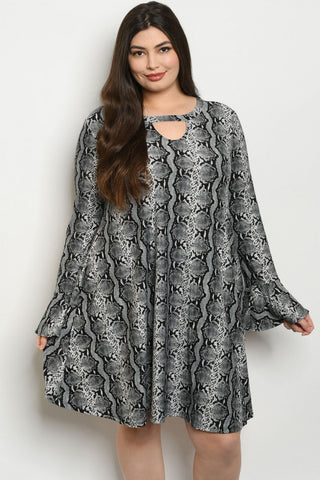 Gray Snakeskin Animal Print Plus Size Tunic Dress
