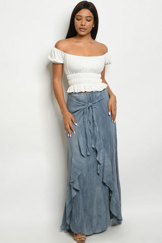 Indigo Blue Ruffled Boho Maxi Skirt