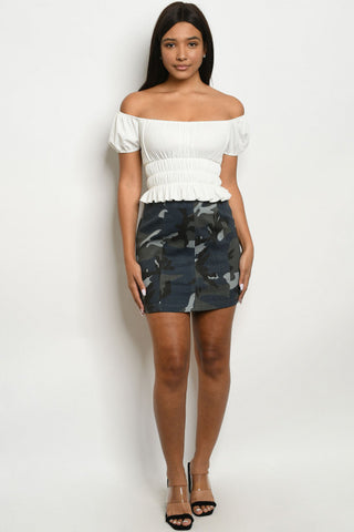 Navy Blue Camouflage Mini Skirt