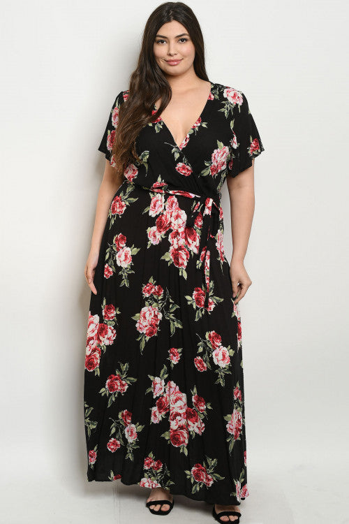 black floral plus size maxi dress