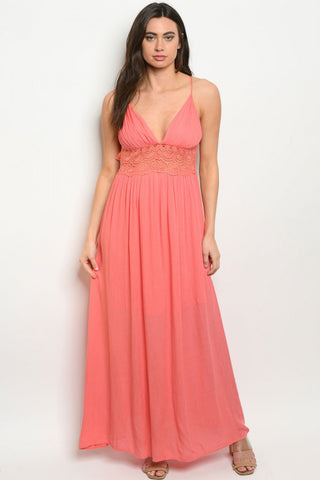 Coral Pink Babydoll Lace Accent Maxi Dress