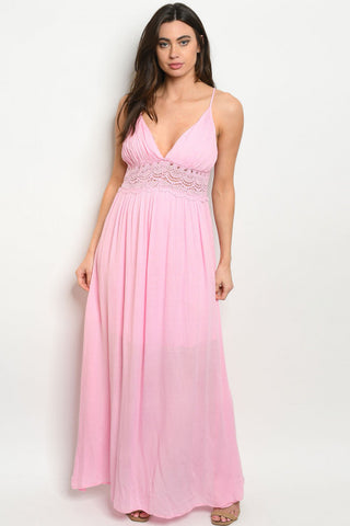 Soft Pink Babydoll Lace Accent Maxi Dress