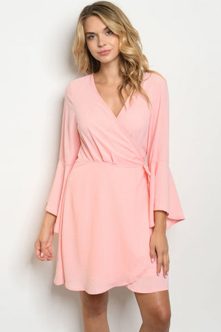 Peach Bell Sleeve Wrap Dress