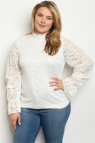 White Lace Plus Size Long Sleeve Top