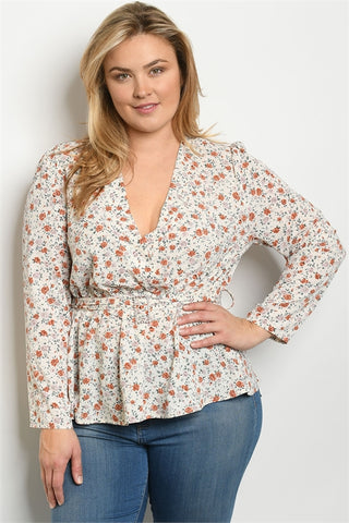 Ivory Floral Long Sleeve Plus Size Top