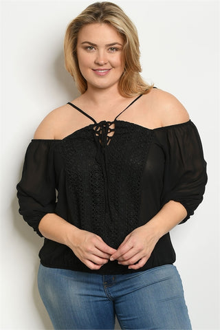 Black Cold Shoulder Plus Size Blouse