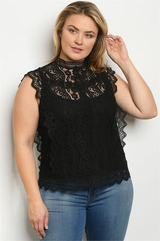Black Lace Overlay Plus Size Top