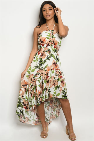 White Floral Halter High Low Maxi Dress