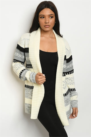 Ivory and Gray Cardigan Sweater
