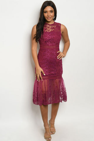 Plum Purple Lace Cocktail Dress