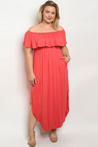 Coral Pink Cold Shoulder Plus Size Maxi Dress