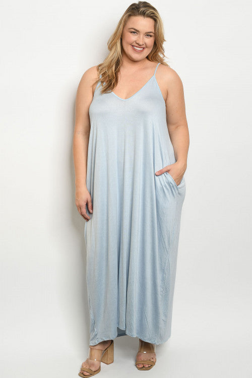 Baby Blue Plus Size Maxi Dress Cover Up