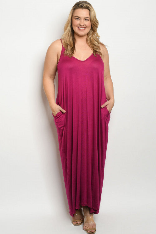 Magenta Pink Plus Size Maxi Dress Cover Up
