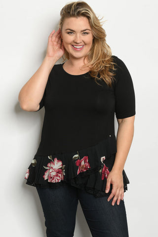 Black Floral Plus Size Tunic Top