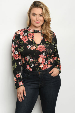 Black Floral Long Sleeve Plus Size Bodysuit