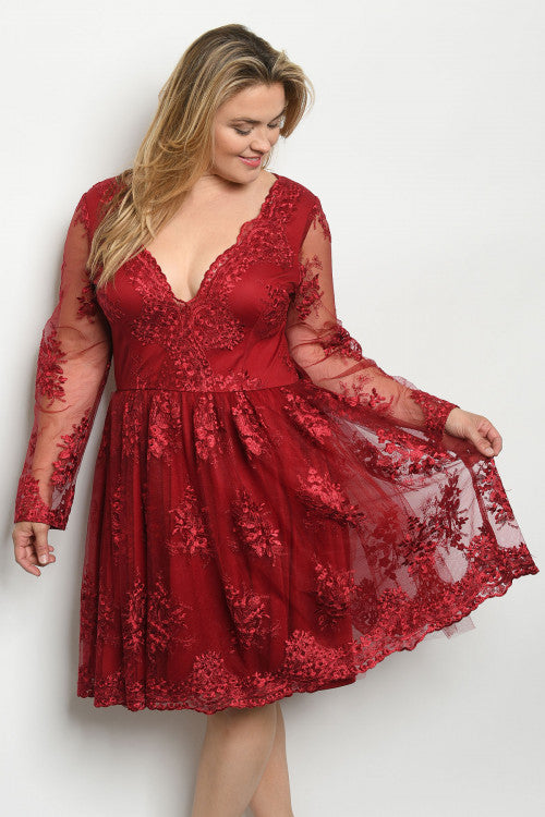 Burgundy Red Plus Size Lace Cocktail Dress